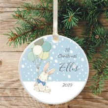 Baby's 1st Christmas Ceramic Christmas Tree Decoration  - Cute Bunny and Balloons Design